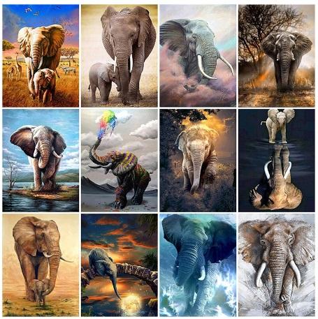 алмазная мозаика - слоны