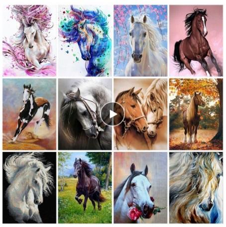 алмазная мозаика - лошади